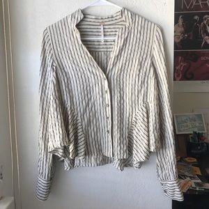 Free People Glitter Accent Striped Button Down